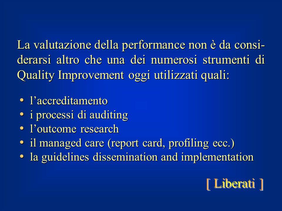 La valutazione della performance non è da consi-derarsi altro che una dei numerosi strumenti di Quality Improvement oggi utilizzati quali: