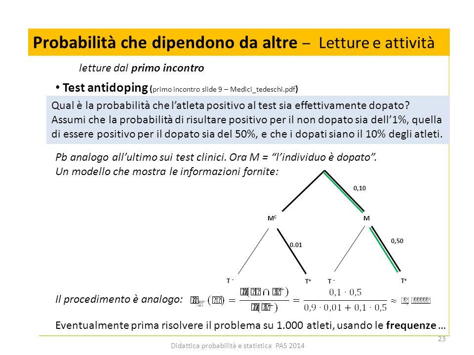 Didattica probabilità e statistica PAS 2014