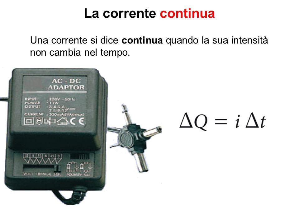La corrente continua Una corrente si dice continua quando la sua intensità. non cambia nel tempo.