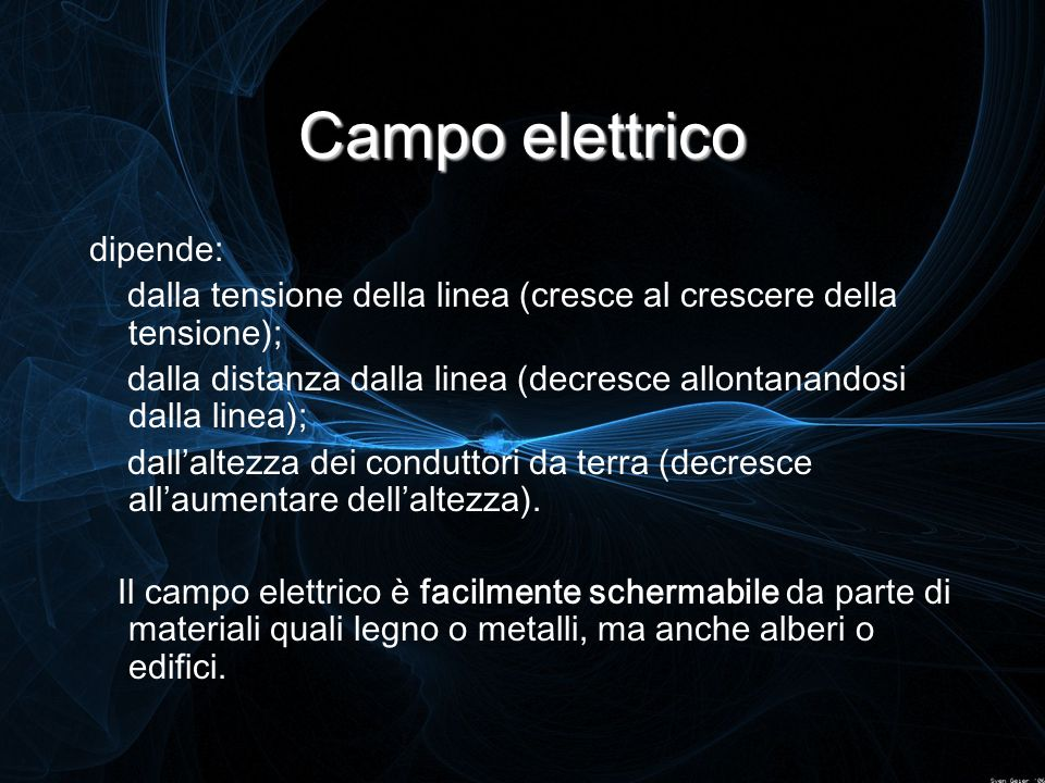 Campo elettrico dipende: