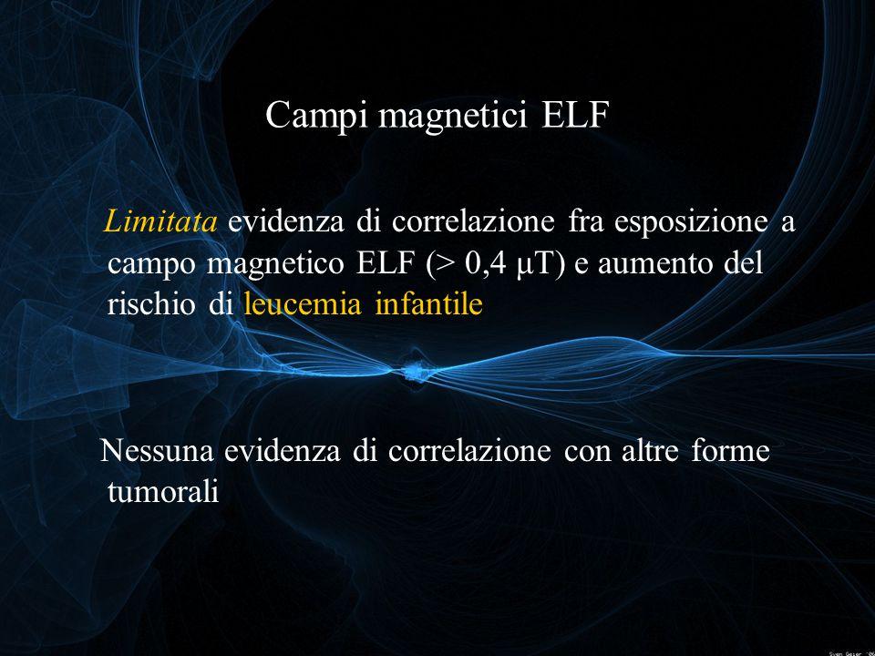 Campi magnetici ELF Limitata evidenza di correlazione fra esposizione a campo magnetico ELF (> 0,4 μT) e aumento del rischio di leucemia infantile.