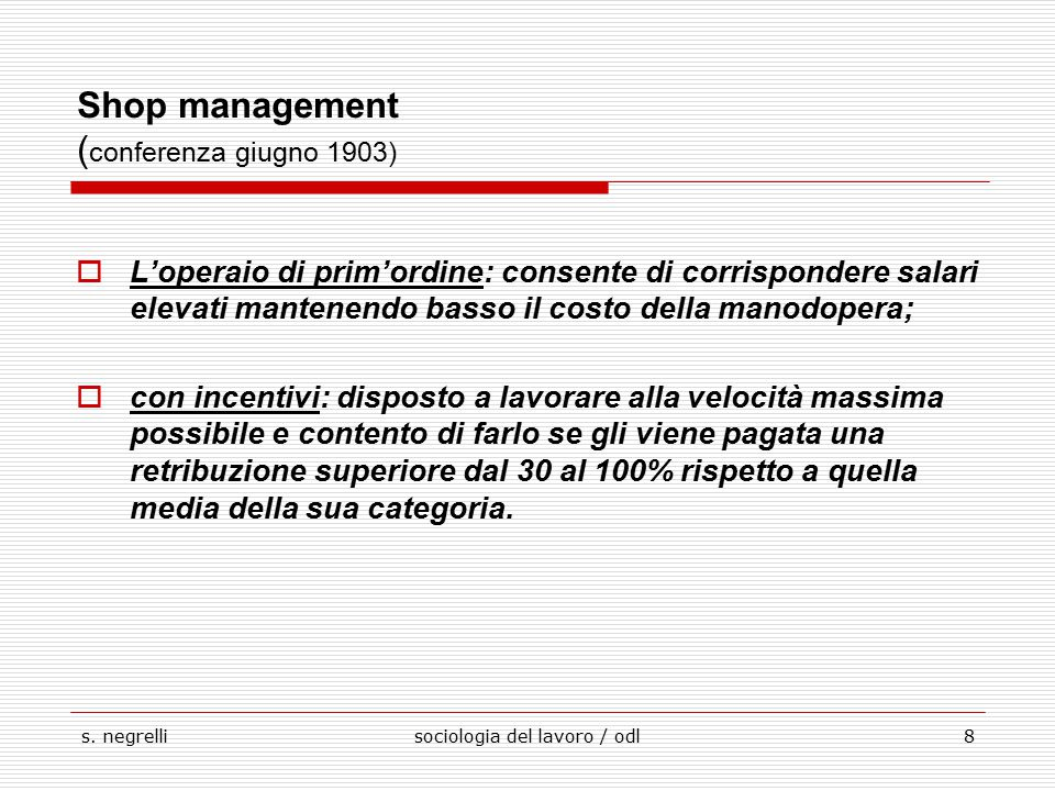 Shop management (conferenza giugno 1903)