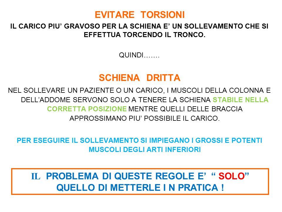 EVITARE TORSIONI SCHIENA DRITTA