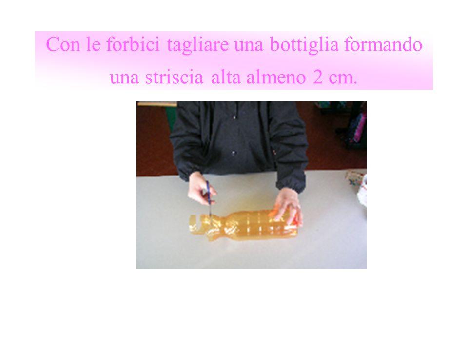 Con le forbici tagliare una bottiglia formando una striscia alta almeno 2 cm.
