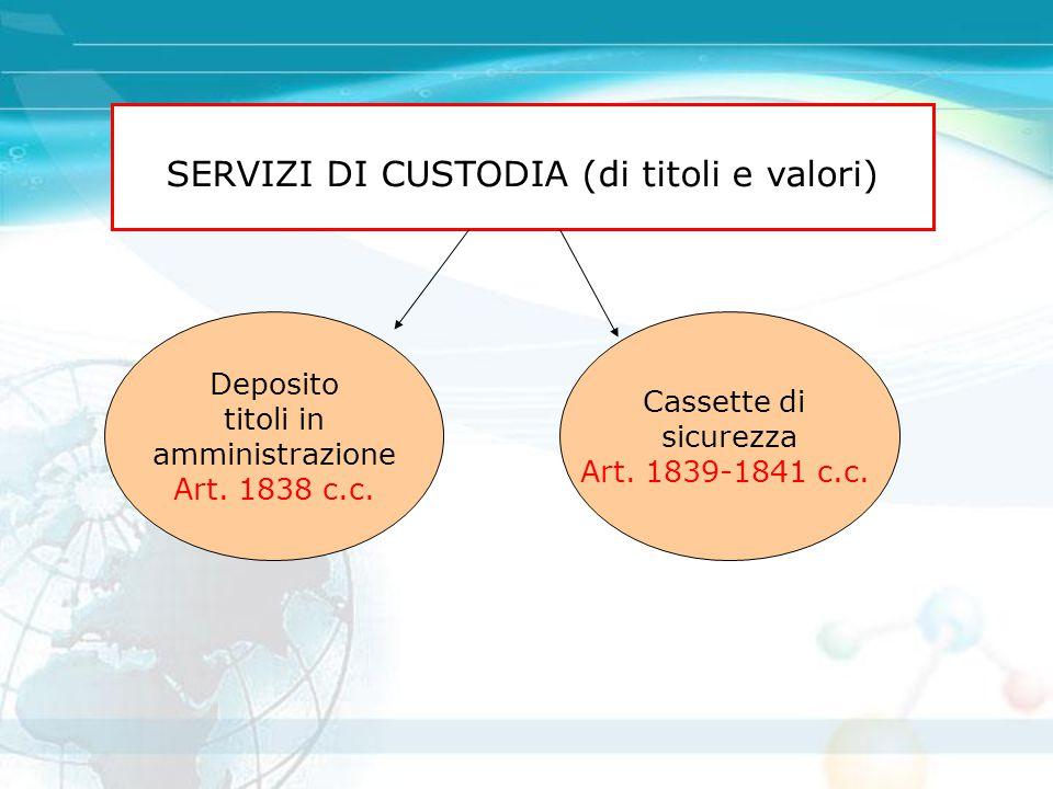 SERVIZI DI CUSTODIA (di titoli e valori)