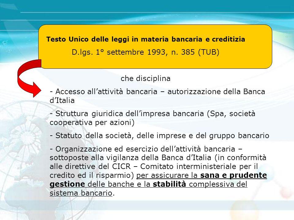 Testo Unico delle leggi in materia bancaria e creditizia