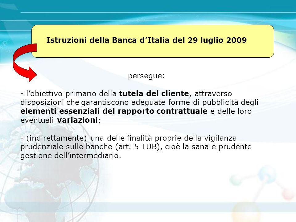 Istruzioni della Banca d'Italia del 29 luglio 2009