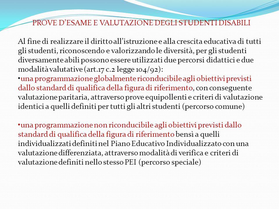 PROVE D'ESAME E VALUTAZIONE DEGLI STUDENTI DISABILI