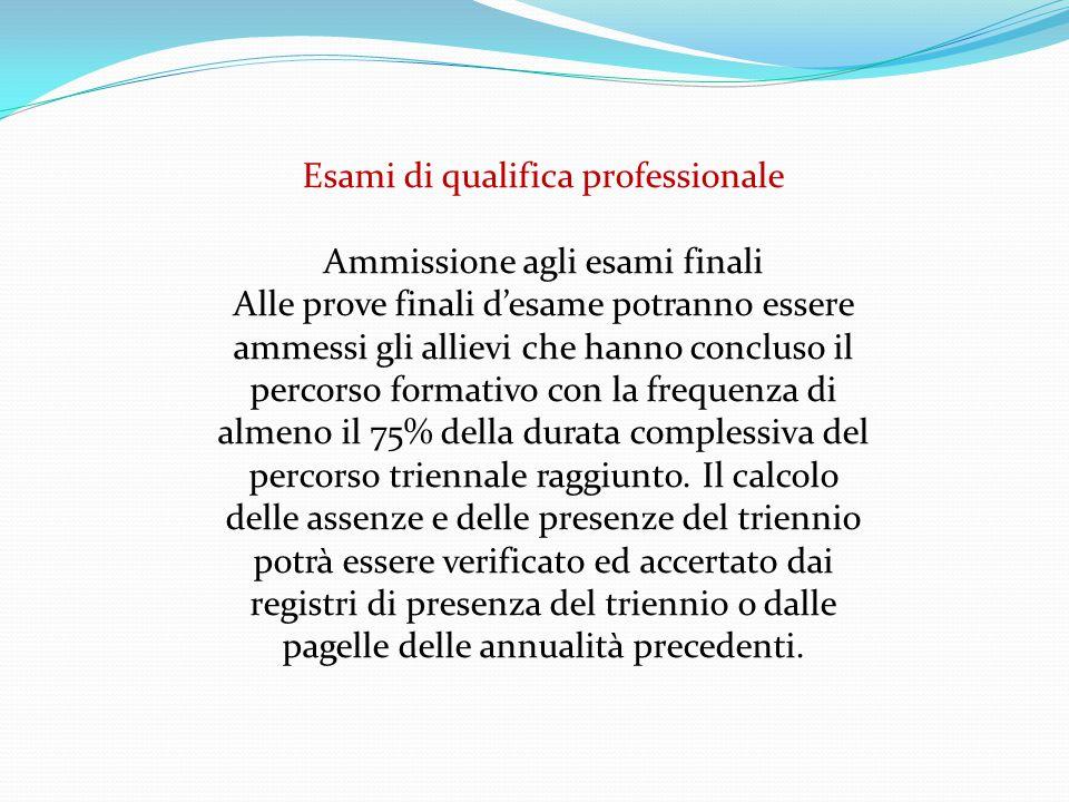 Esami di qualifica professionale Ammissione agli esami finali