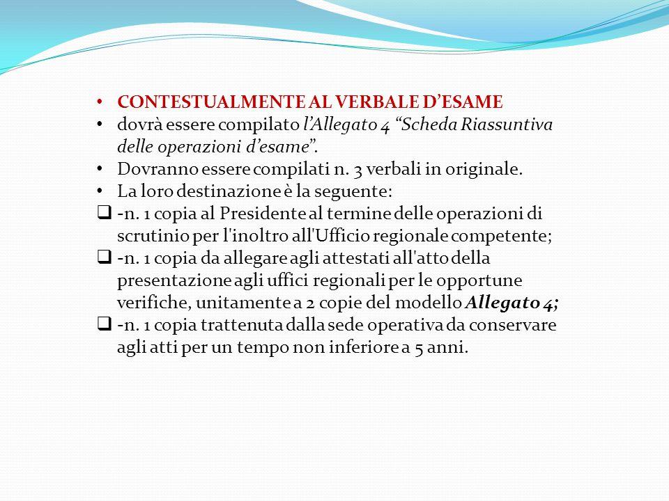 CONTESTUALMENTE AL VERBALE D'ESAME