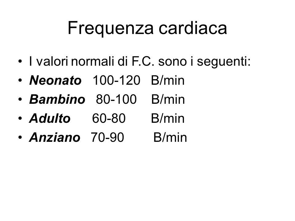 Frequenza cardiaca I valori normali di F.C. sono i seguenti: