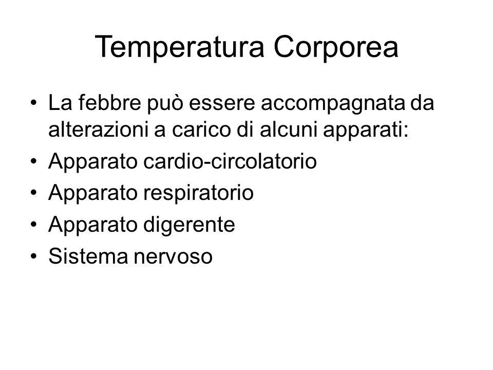 Temperatura Corporea La febbre può essere accompagnata da alterazioni a carico di alcuni apparati: