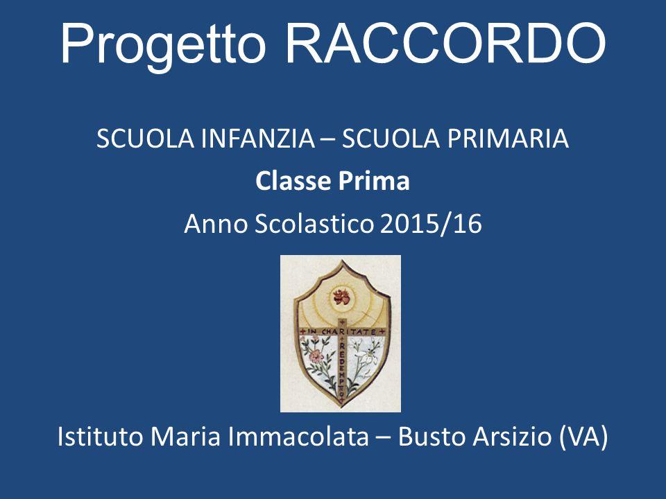 Progetto RACCORDO SCUOLA INFANZIA – SCUOLA PRIMARIA Classe Prima Anno Scolastico 2015/16 Istituto Maria Immacolata – Busto Arsizio (VA)