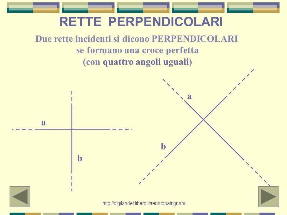 RETTE PERPENDICOLARI Due rette incidenti si dicono PERPENDICOLARI se formano una croce perfetta (con quattro angoli uguali)