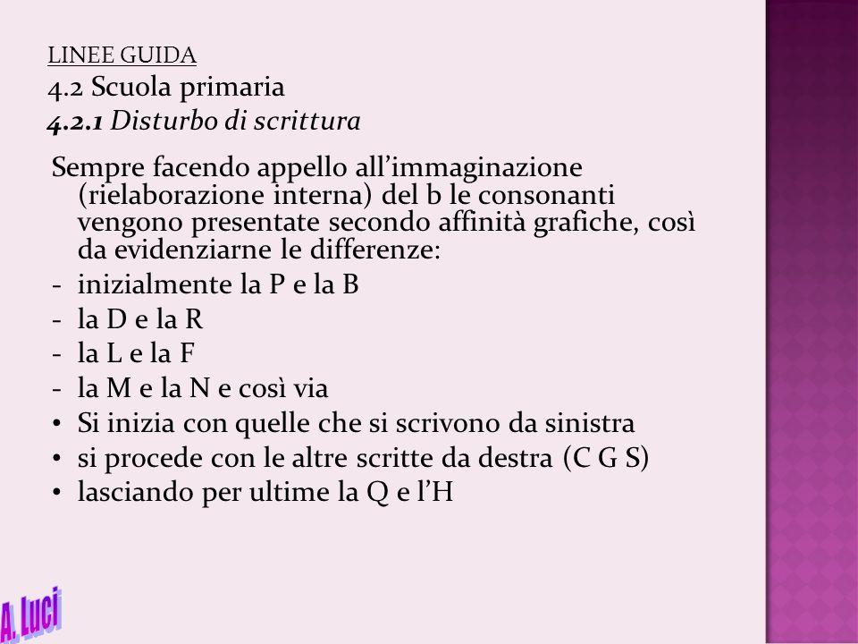 LINEE GUIDA 4.2 Scuola primaria 4.2.1 Disturbo di scrittura