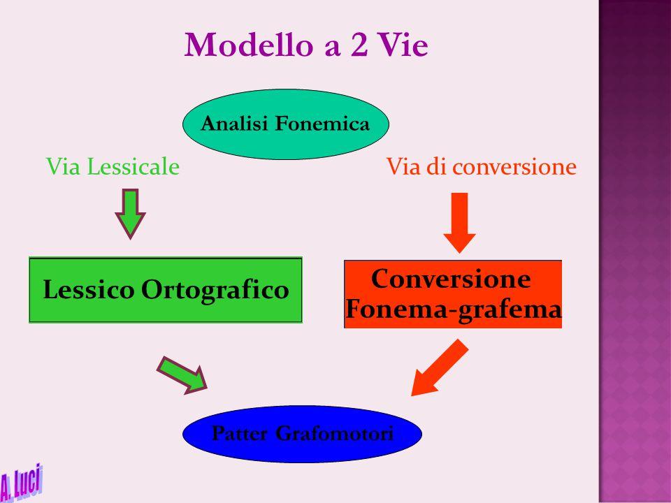 Modello a 2 Vie A. Luci Conversione Lessico Ortografico Fonema-grafema