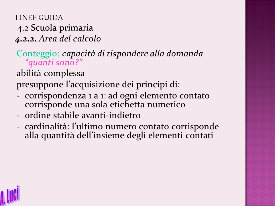 LINEE GUIDA 4.2 Scuola primaria 4.2.2. Area del calcolo