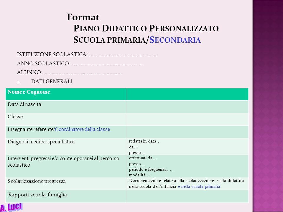 Format Piano Didattico Personalizzato Scuola primaria/Secondaria