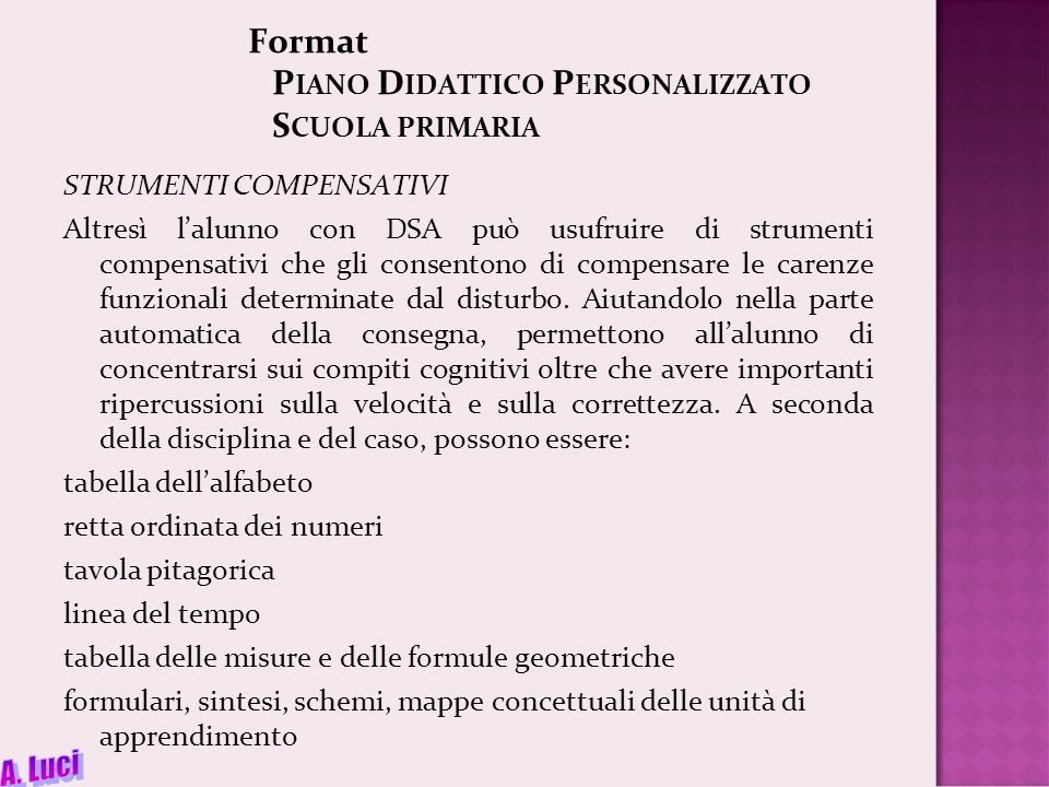 Format Piano Didattico Personalizzato Scuola primaria