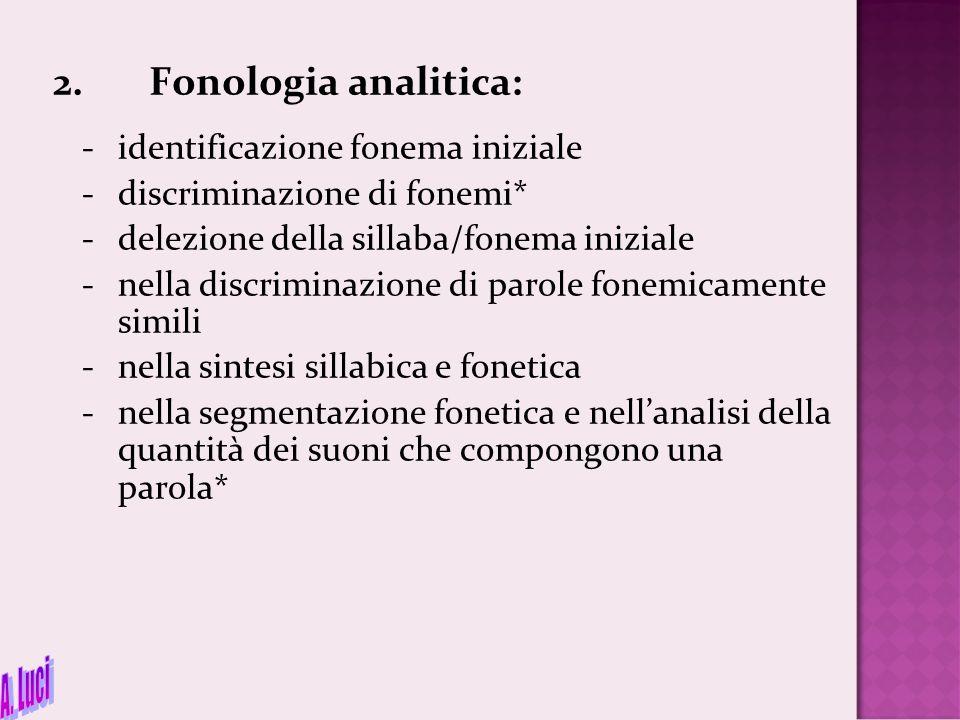 A. Luci 2. Fonologia analitica: - identificazione fonema iniziale