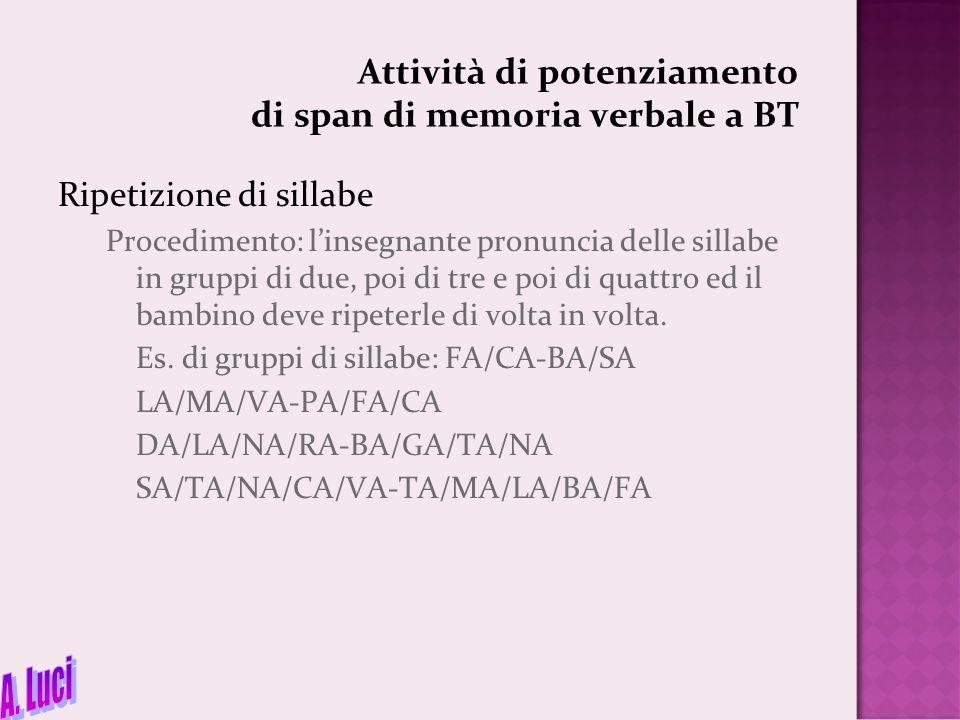 Attività di potenziamento di span di memoria verbale a BT