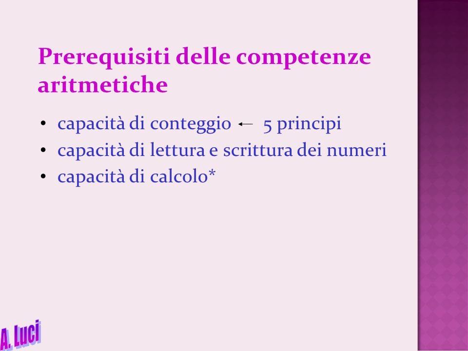 Prerequisiti delle competenze aritmetiche