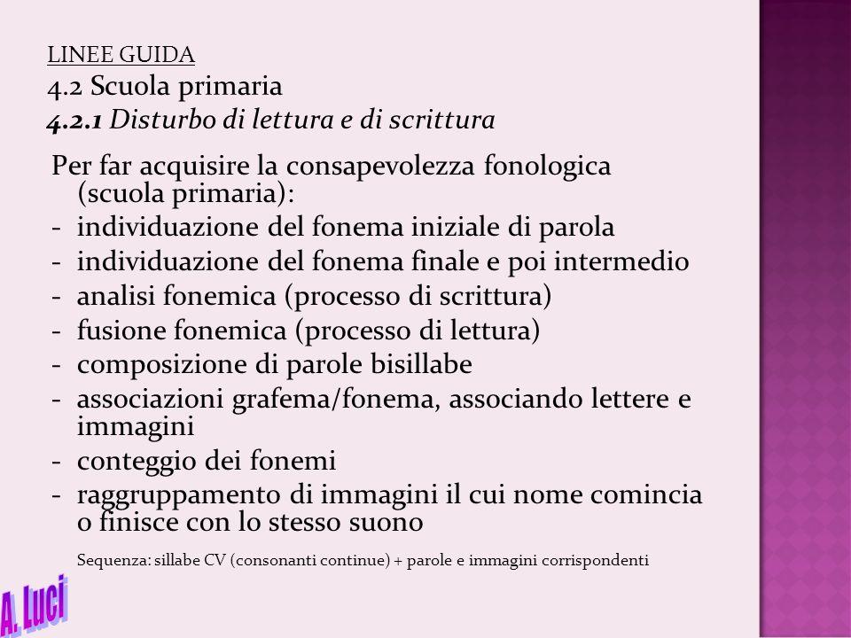 LINEE GUIDA 4. 2 Scuola primaria 4. 2