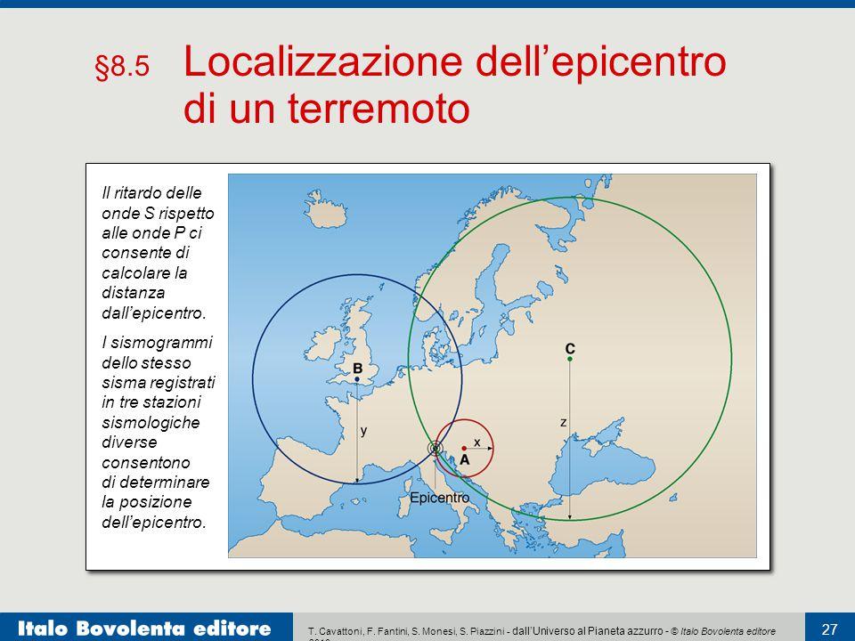 §8.5 Localizzazione dell'epicentro di un terremoto