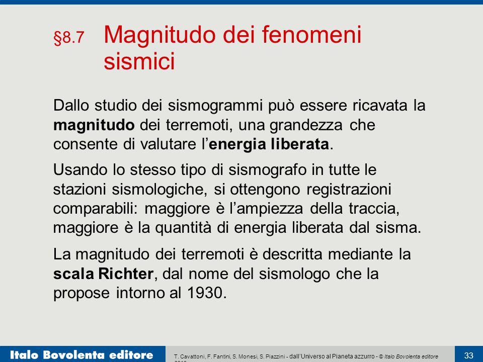 §8.7 Magnitudo dei fenomeni sismici
