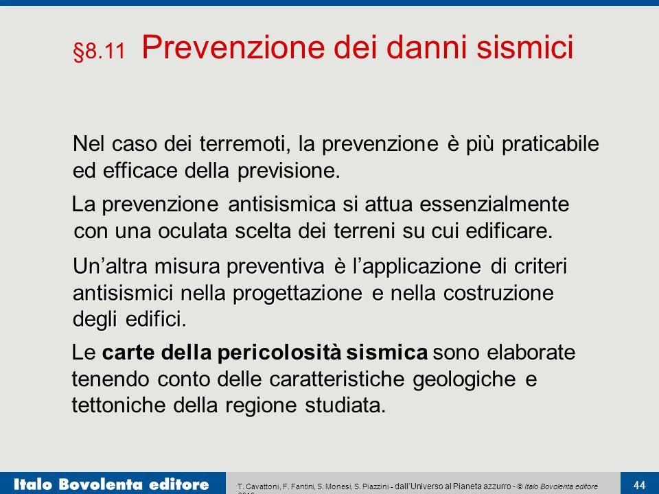 §8.11 Prevenzione dei danni sismici
