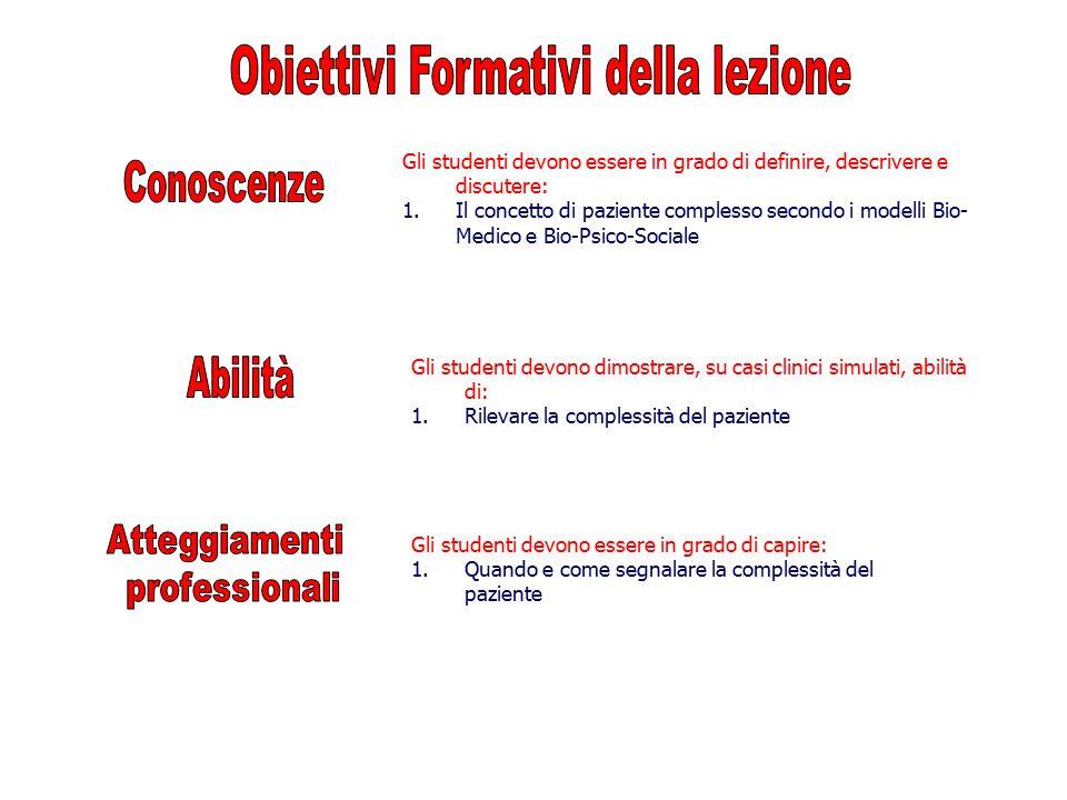 Obiettivi Formativi della lezione