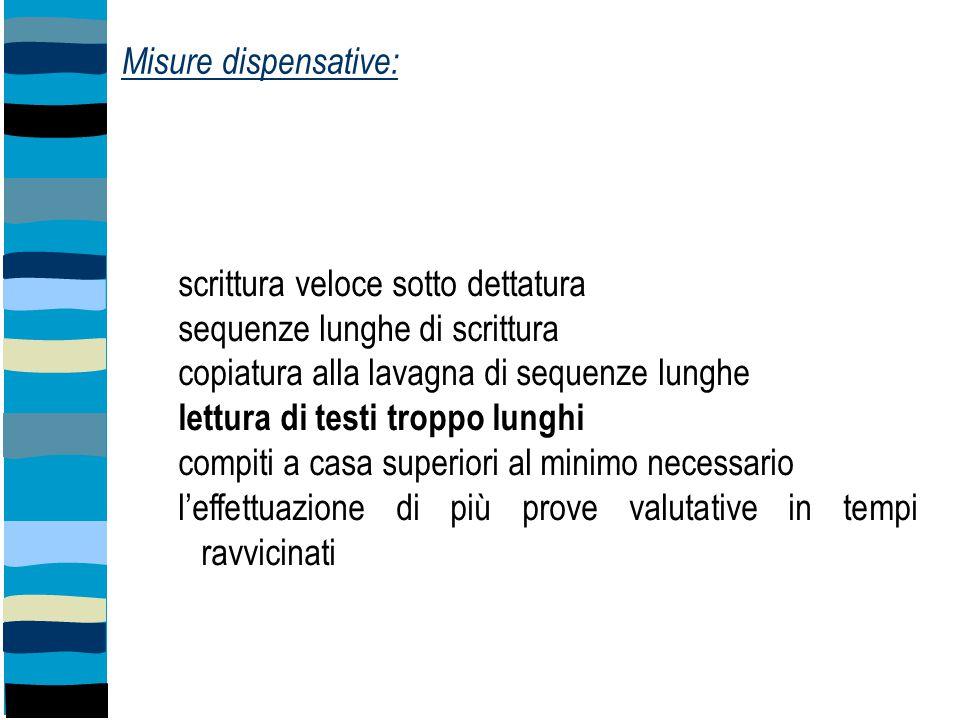Misure dispensative: scrittura veloce sotto dettatura. sequenze lunghe di scrittura. copiatura alla lavagna di sequenze lunghe.