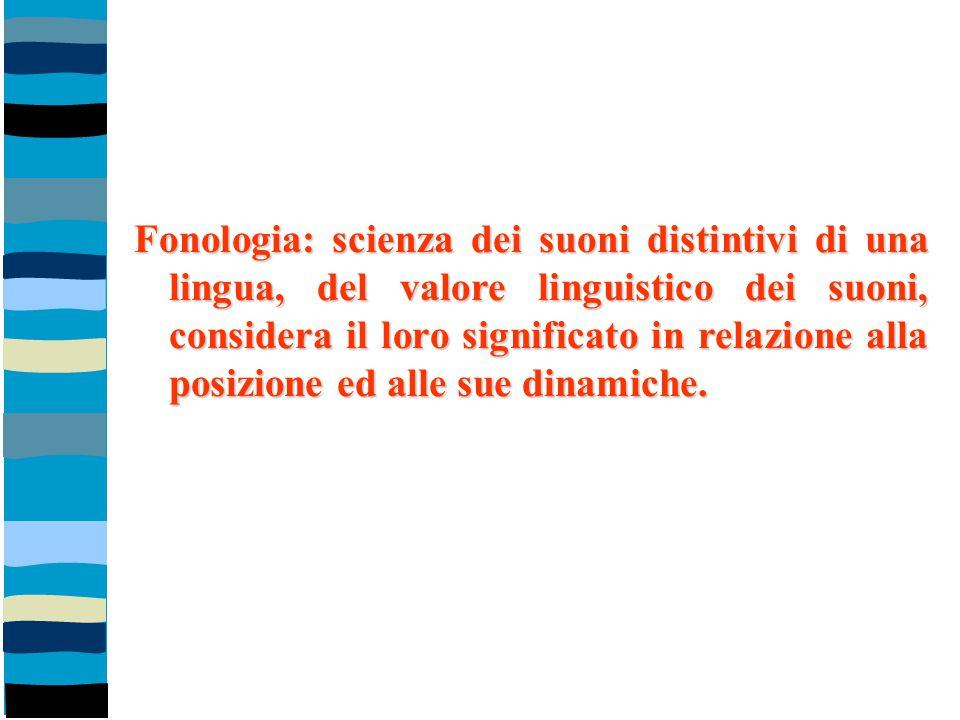 Fonologia: scienza dei suoni distintivi di una lingua, del valore linguistico dei suoni, considera il loro significato in relazione alla posizione ed alle sue dinamiche.