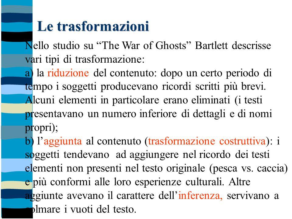 Le trasformazioni Nello studio su The War of Ghosts Bartlett descrisse. vari tipi di trasformazione: