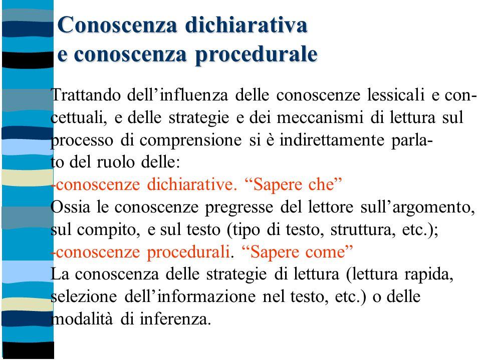 Conoscenza dichiarativa e conoscenza procedurale