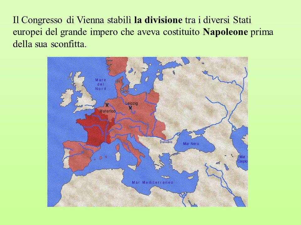 Il Congresso di Vienna stabilì la divisione tra i diversi Stati europei del grande impero che aveva costituito Napoleone prima
