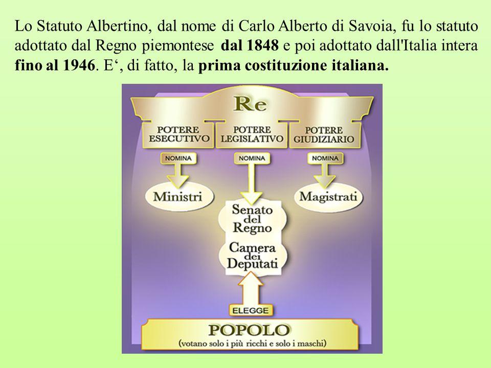 Lo Statuto Albertino, dal nome di Carlo Alberto di Savoia, fu lo statuto adottato dal Regno piemontese dal 1848 e poi adottato dall Italia intera