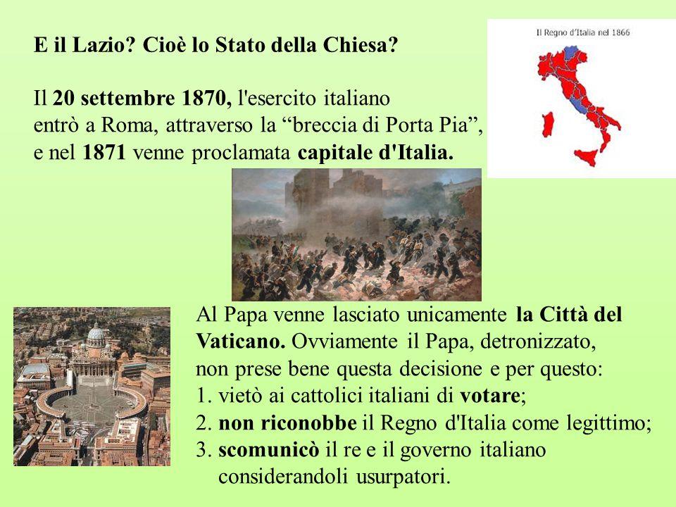 E il Lazio Cioè lo Stato della Chiesa