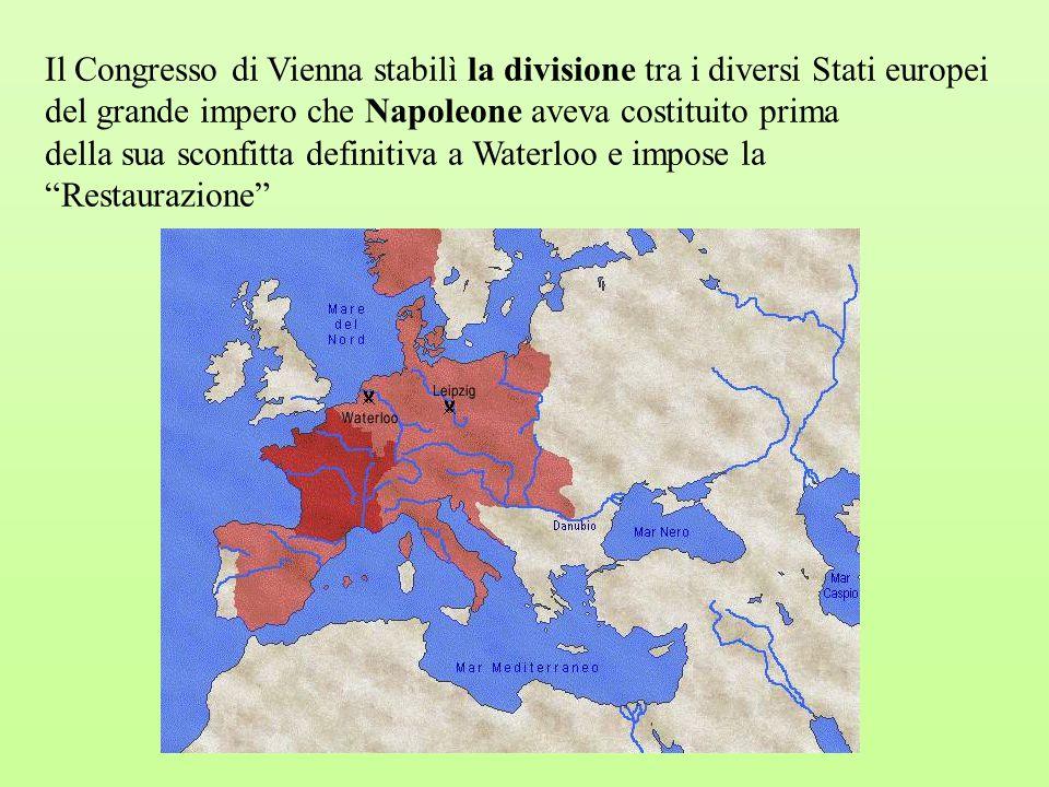 Il Congresso di Vienna stabilì la divisione tra i diversi Stati europei del grande impero che Napoleone aveva costituito prima
