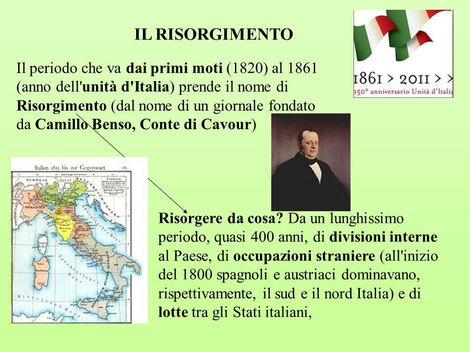 IL RISORGIMENTO Il periodo che va dai primi moti (1820) al 1861