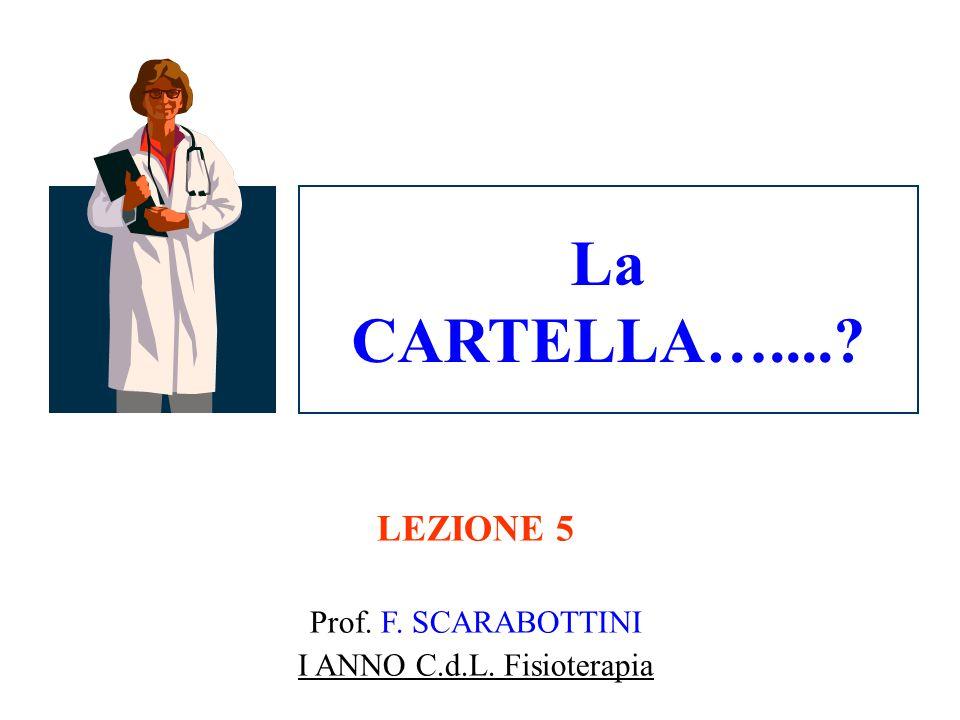 LEZIONE 5 Prof. F. SCARABOTTINI I ANNO C.d.L. Fisioterapia