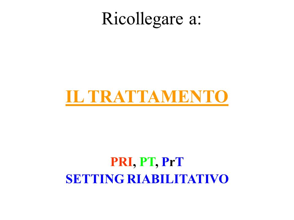 PRI, PT, PrT SETTING RIABILITATIVO