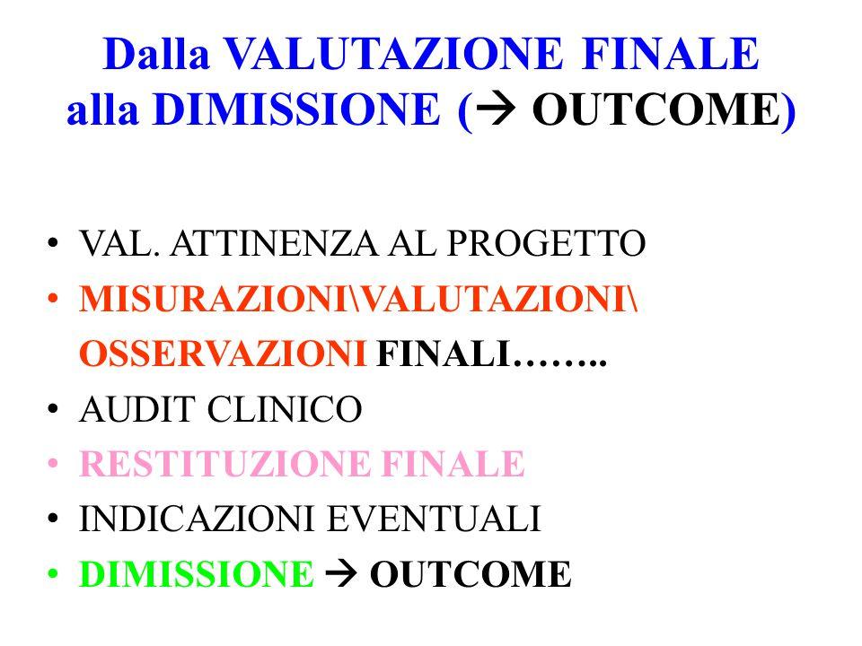 Dalla VALUTAZIONE FINALE alla DIMISSIONE ( OUTCOME)