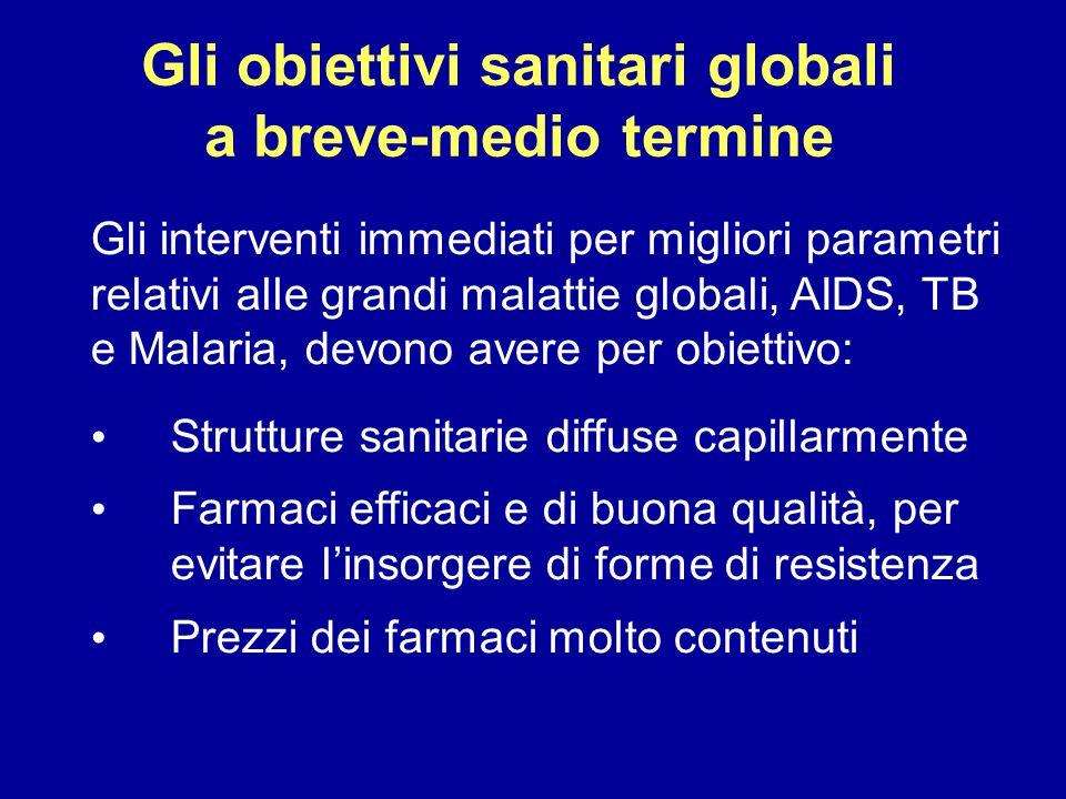 Gli obiettivi sanitari globali a breve-medio termine