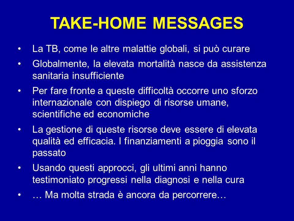 TAKE-HOME MESSAGES La TB, come le altre malattie globali, si può curare.