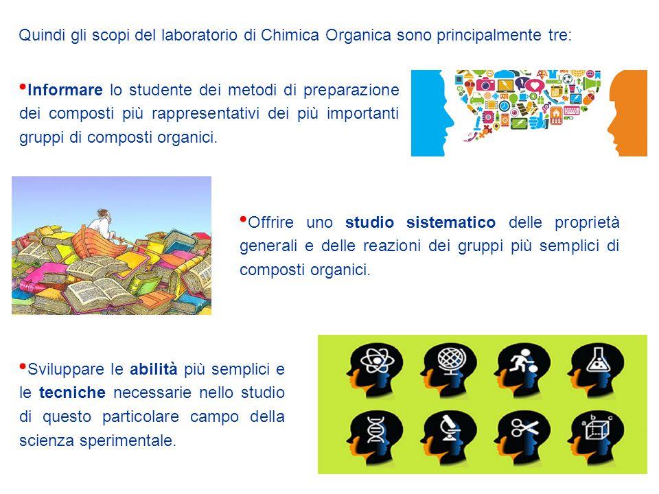 Quindi gli scopi del laboratorio di Chimica Organica sono principalmente tre: