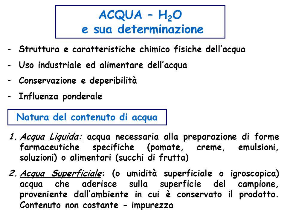 Natura del contenuto di acqua