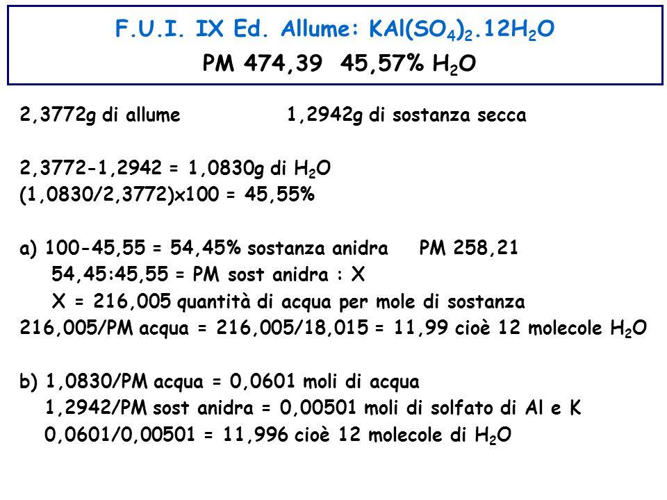 F.U.I. IX Ed. Allume: KAl(SO4)2.12H2O