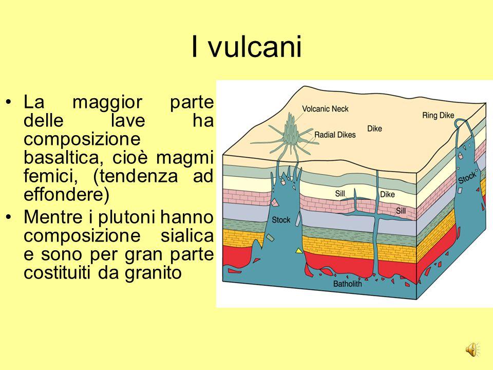 I vulcani La maggior parte delle lave ha composizione basaltica, cioè magmi femici, (tendenza ad effondere)