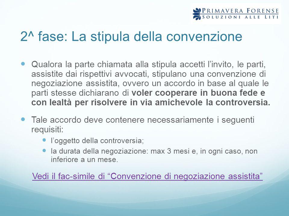 2^ fase: La stipula della convenzione
